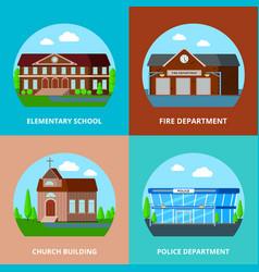 municipal buildings design concept vector image vector image