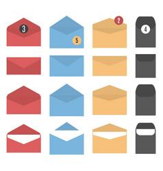 set of colored paper envelopes vector image