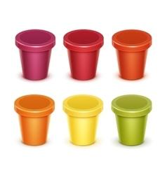 Set of Food Plastic Container For Dessert Yogurt vector image