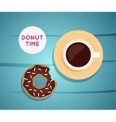Sweet donut with coffee Donut on table Dinner on a vector image vector image