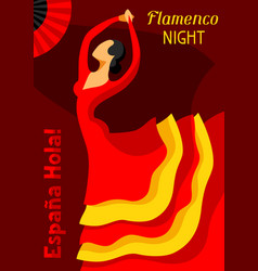 Traditional spanish flamenco woman in red dress vector