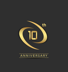 10 years anniversary logo style with swoosh ring vector