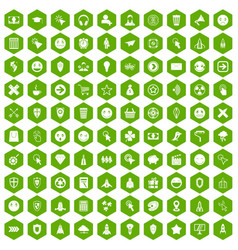 100 interface pictogram icons hexagon green vector