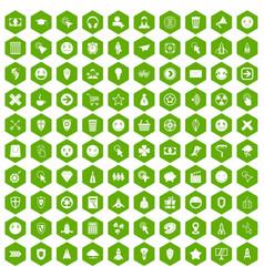 100 interface pictogram icons hexagon green vector image