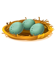 A nest with three eggs vector
