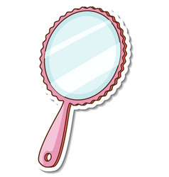 A sticker template of pink mirror with handle vector