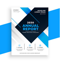 abstract blue annual report busienss brochure vector image