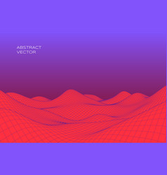 abstract digital landscape with gradient cyber or vector image