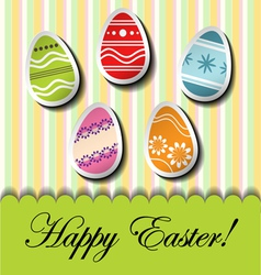 Abstract Easter card with egg stickers vector image