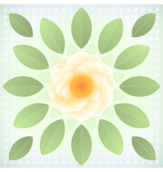 Abstract yellow flower with green leaves vector image