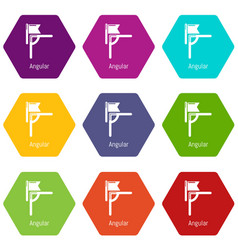 angular line football icons set 9 vector image