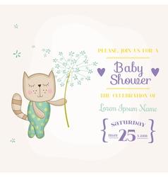 Baby cat holding flower - shower card vector