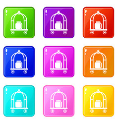 baggage trolley icons set 9 color collection vector image