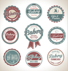bakery retro vintage labels collection vector image