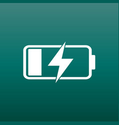 battery charge level indicator on green background vector image