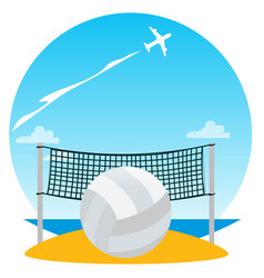 Beach volleyball color of a summer theme vector