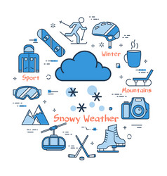 blue winter snowy weather concept vector image
