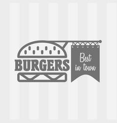 burger logo design concept in linear style vector image