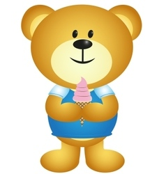 Cartoon Boy Bear Eating Ice Cream - full colour vector image