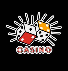 Casino poker logo template gambling game dice vector