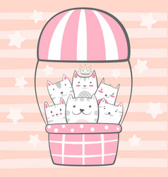 cat kitty characters air balloon vector image