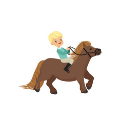 Cheerful blonde little boy riding pony horse vector