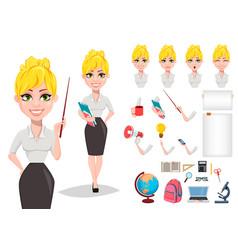 Cheerful female teacher vector