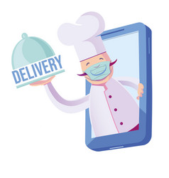 chef with mask coming out his cellphone vector image