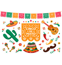cinco de mayo set mexican culture decoration vector image