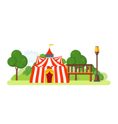 Circus building located in park and attractions vector