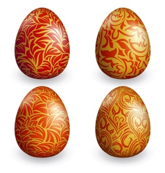 Collection golden easter egg with different patter vector