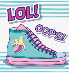 Cool shoe pop art vector