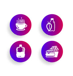 Cooler bottle coffee cup and water bottle icons vector