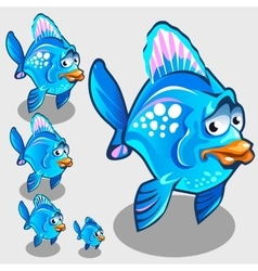 Cute blue fish with sad face character vector