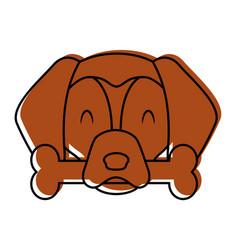 cute dog mascot with bone vector image vector image