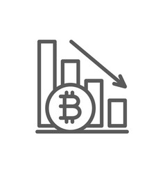 down graph bitcoin coin cryptocurrency line icon vector image