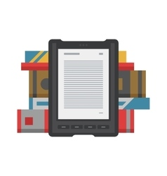 Electronic mobile book with paper books icon vector