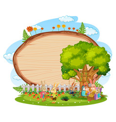 Empty wooden board in garden with two rabbits vector