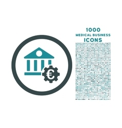 Euro Bank Settings Rounded Icon with 1000 Bonus vector image