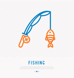 fishing rod with fish on hook thin line icon vector image