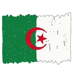 Flag of Algeria handmade vector