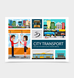 flat city transport composition vector image