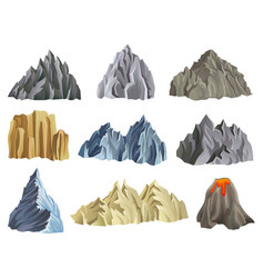 flat set of mountain and volcano vector image