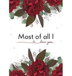 floral card design with garden burgundy red rose vector image vector image