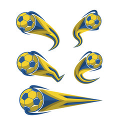 Football yellow blue and soccer symbols set vector
