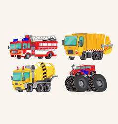 Funny cute hand drawn cartoon vehicles bright vector