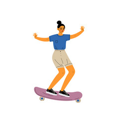 girl riding skateboard female skateboarder vector image