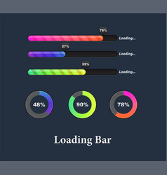 glowing colorful loaders and progress bar set vector image