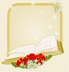Golden frame with book hibiscus and jasmine vector