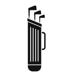 Golf clubs bag icon simple style vector